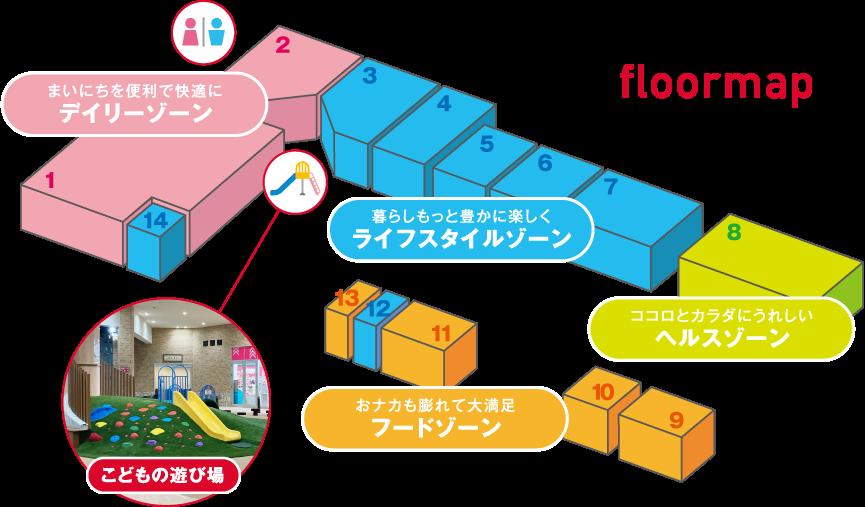 floormap まいにちを便利で快適にデイリーゾーン 暮らしもっと豊かに楽しくライフスタイルゾーン ココロとカラダにうれしいヘルスゾーン おナカも膨れて大満足フードゾーン こどもの遊び場